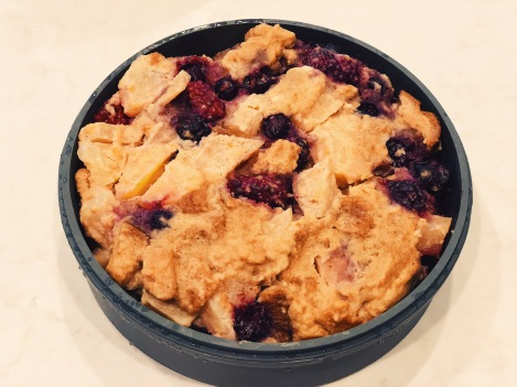 Gluten-free, dairy-free Berry Apple Bread Pudding