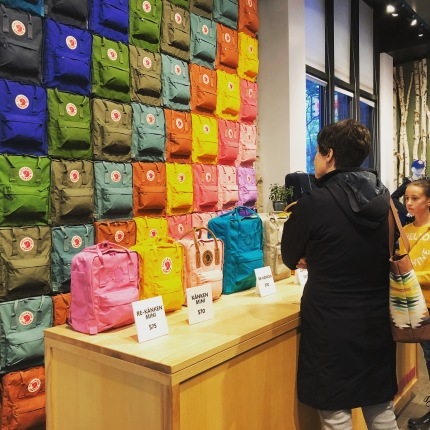 Great wall of Fjallraven backpacks